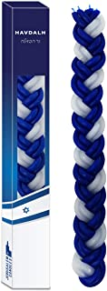 Ner Mitzvah Havdalah Candle Braided Blue and White Round- 6-Pack - Jerusalem